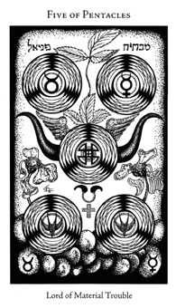 Five of Stones Tarot Card - Hermetic Tarot Deck