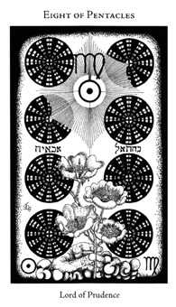 Eight of Coins Tarot Card - Hermetic Tarot Deck