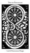 Two of Pentacles Tarot card in Hermetic Tarot deck
