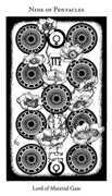 Nine of Pentacles Tarot card in Hermetic Tarot deck