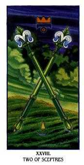 Two of Rods Tarot Card - Ibis Tarot Deck