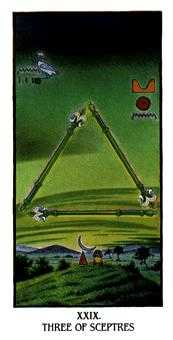Three of Rods Tarot Card - Ibis Tarot Deck