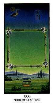 Four of Staves Tarot Card - Ibis Tarot Deck