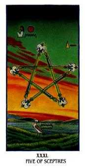 Five of Sceptres Tarot Card - Ibis Tarot Deck