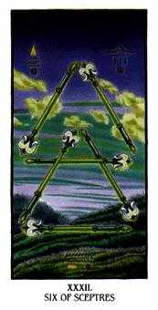 Six of Pipes Tarot Card - Ibis Tarot Deck