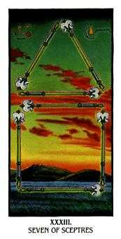 Seven of Rods Tarot Card - Ibis Tarot Deck
