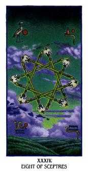 Eight of Rods Tarot Card - Ibis Tarot Deck