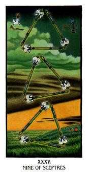 Nine of Pipes Tarot Card - Ibis Tarot Deck