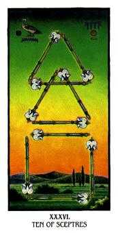 Ten of Batons Tarot Card - Ibis Tarot Deck