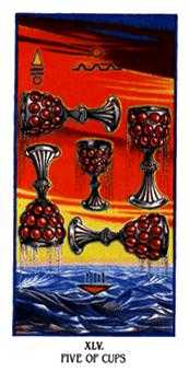 Five of Bowls Tarot Card - Ibis Tarot Deck