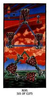 Six of Ghosts Tarot Card - Ibis Tarot Deck