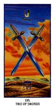 Two of Arrows Tarot Card - Ibis Tarot Deck
