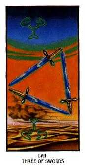 Three of Spades Tarot Card - Ibis Tarot Deck