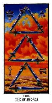 Nine of Arrows Tarot Card - Ibis Tarot Deck