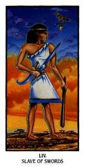 Slave of Swords Tarot Card - Ibis Tarot Deck