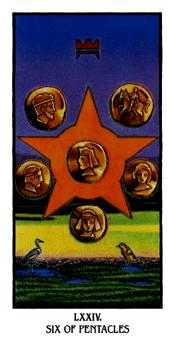 Six of Coins Tarot Card - Ibis Tarot Deck