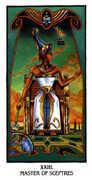Master of Sceptres Tarot card in Ibis deck