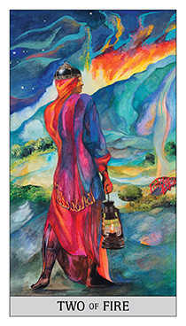 Two of Fire Tarot Card - Japaridze Tarot Deck