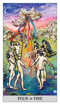 Four of Rods Tarot Card - Japaridze Tarot Deck