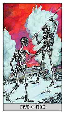 Five of Rods Tarot Card - Japaridze Tarot Deck