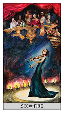 Six of Fire Tarot Card - Japaridze Tarot Deck
