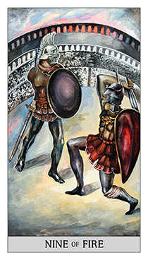 Nine of Batons Tarot Card - Japaridze Tarot Deck