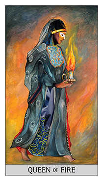 Queen of Batons Tarot Card - Japaridze Tarot Deck
