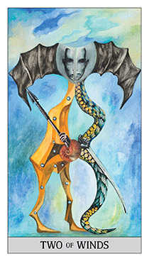 Two of Bats Tarot Card - Japaridze Tarot Deck