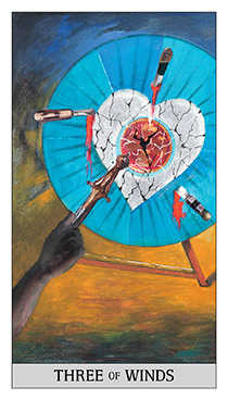 Three of Wind Tarot Card - Japaridze Tarot Deck