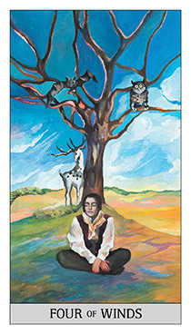Four of Rainbows Tarot Card - Japaridze Tarot Deck