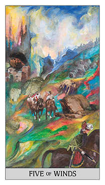 Five of Wind Tarot Card - Japaridze Tarot Deck