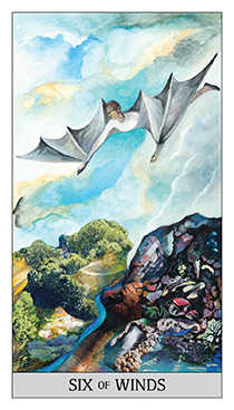 Six of Bats Tarot Card - Japaridze Tarot Deck