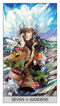 Seven of Pentacles Tarot Card - Japaridze Tarot Deck