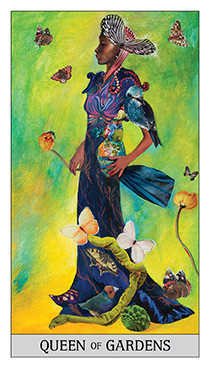 Queen of Coins Tarot Card - Japaridze Tarot Deck