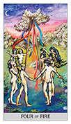 Four of Wands Tarot card in Japaridze deck