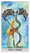 Two of Swords Tarot card in Japaridze Tarot deck