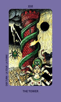 The Falling Tower Tarot Card - Jolanda Tarot Deck