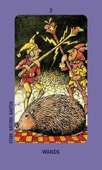 Two of Batons Tarot Card - Jolanda Tarot Deck