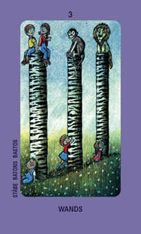 Three of Pipes Tarot Card - Jolanda Tarot Deck