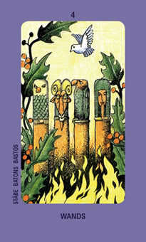 Four of Pipes Tarot Card - Jolanda Tarot Deck