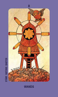Eight of Pipes Tarot Card - Jolanda Tarot Deck