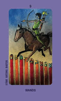 Nine of Pipes Tarot Card - Jolanda Tarot Deck