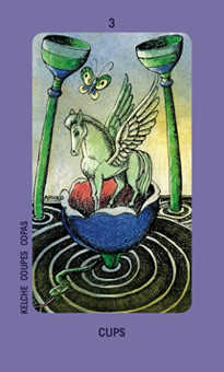 Three of Bowls Tarot Card - Jolanda Tarot Deck