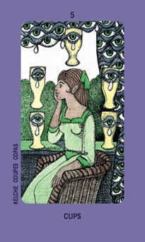 Five of Hearts Tarot Card - Jolanda Tarot Deck