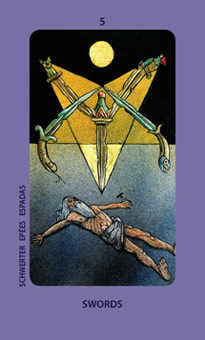 Five of Bats Tarot Card - Jolanda Tarot Deck