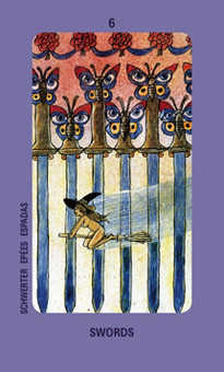 Six of Bats Tarot Card - Jolanda Tarot Deck