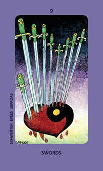 Nine of Bats Tarot Card - Jolanda Tarot Deck
