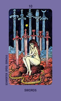 Ten of Arrows Tarot Card - Jolanda Tarot Deck