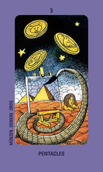 Three of Coins Tarot Card - Jolanda Tarot Deck