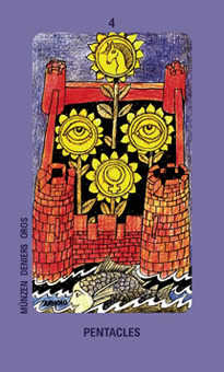 Four of Buffalo Tarot Card - Jolanda Tarot Deck